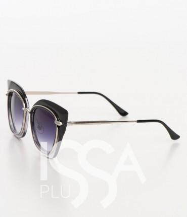 ISSA PLUS. Круглые очки в заостренной оправе с металлическими ободками вокруг стекол. Артикул: O-39_черный
