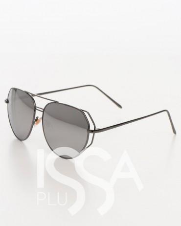 ISSA PLUS. Солнечные очки с серыми стеклами в металлической оправе цвета графит. Артикул: O-33_серый