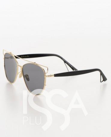 ISSA PLUS. Темные очки с тонкой фигурной оправой золотого цвета. Артикул: O-18_коричневый
