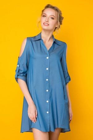 Zefir. Платье-рубашка с вырезами на плечах. Артикул: АЛИСА синее