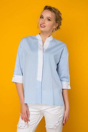Zefir. Рубашка с планкой. Артикул: РОНА голубая