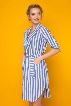 Zefir. Льняное платье в полоску. Артикул: КАМ синее