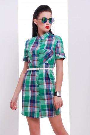 """TessDress. Платье -рубашка с коротким рукавом """"Лайт-2"""" Green. Артикул: 5361"""