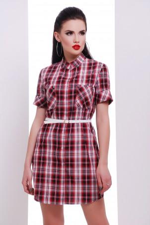 "TessDress. Платье -рубашка с коротким рукавом ""Лайт-2"" Bordo. Артикул: 5261"