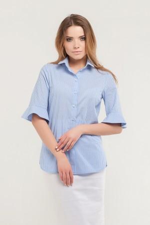 Marterina. Рубашка с коротким конусным рукавом голубая в полоску. Артикул: K07R07CT56