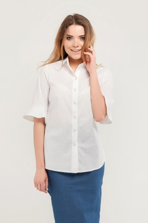 Marterina. Рубашка с коротким конусным рукавом белая с принтом. Артикул: K07R07CT23