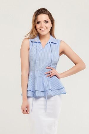 Marterina. Рубашка с двойной баской голубая в полоску. Артикул: K07R06CT56