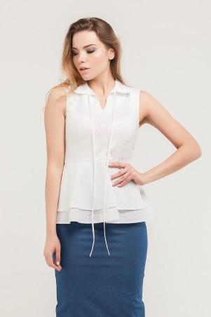 Marterina. Рубашка с двойной баской белая с принтом. Артикул: K07R06CT23