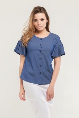 Marterina. Рубашка с воланом по рукаву джинс. Артикул: K07R08R04