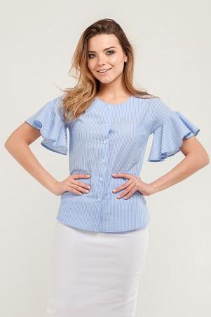 Marterina. Рубашка с воланом по рукаву голубая в полоску. Артикул: K07R08CT56