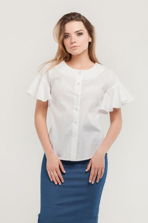 Marterina. Рубашка с воланом по рукаву белая принт. Артикул: K07R08CT23