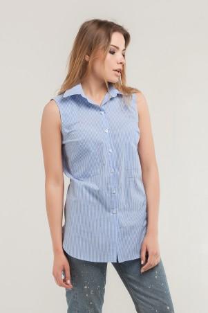 Marterina. Рубашка без рукава на резинке голубая в полоску. Артикул: K07R09CT56