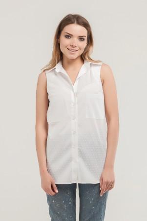 Marterina. Рубашка без рукава на резинке белая принт. Артикул: K07R09CT23