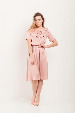 Marterina. Платье с кокеткой и коротким рукавом розовое. Артикул: K07P43R11