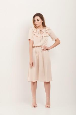 Marterina. Платье с кокеткой и коротким рукавом бежевое. Артикул: K07P43R09