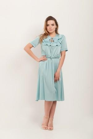 Marterina. Платье с кокеткой и коротким рукавом аквамарин. Артикул: K07P43R26