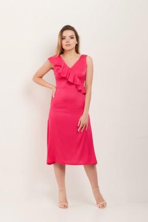 Marterina. Платье с воланом по линии запаха малиновое. Артикул: K07P65R34
