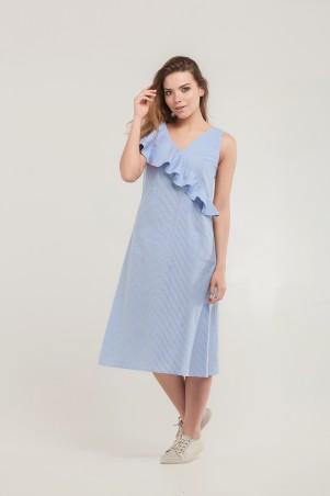 Marterina. Платье с воланом по линии запаха голубое в полоску. Артикул: K07P65CT56