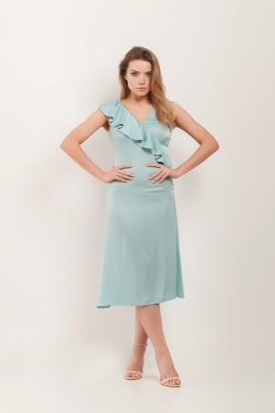 Marterina. Платье с воланом по линии запаха аквамарин. Артикул: K07P65R26