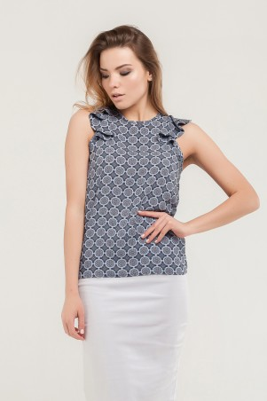Marterina. Блуза с плечиками-воланами орнамент. Артикул: K07BL03VZ57