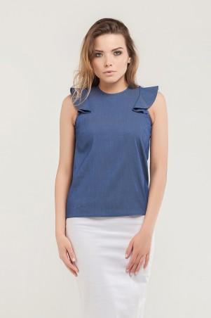 Marterina. Блуза с плечиками-воланами джинс. Артикул: K07BL03R04