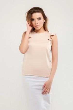 Marterina. Блуза с плечиками-воланами бежевая. Артикул: K07BL03R09
