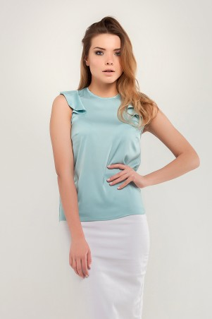 Marterina. Блуза с плечиками-воланами аквамарин. Артикул: K07BL03R26