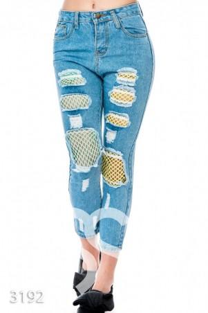 ISSA PLUS. Рваные синие джинсы со вставками из цветной неоновой сетки. Артикул: 3192_синий