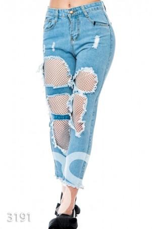 ISSA PLUS. Рваные укороченные голубые джинсы с белой сеткой с разными ячейками. Артикул: 3191_синий