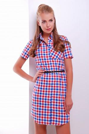 MarSe. Платье-рубашка. Артикул: 1604 красно-голубой