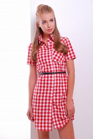 MarSe: Платье-рубашка 1604 красно-белый - главное фото