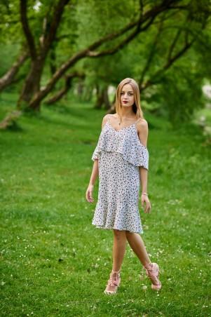 Ляпота. Платье с воланом в мелкие розочки. Артикул: 1077