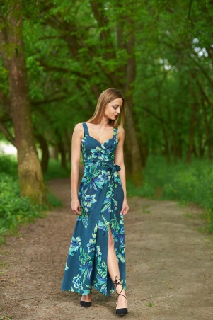 Ляпота. Сарафан в пол зеленые цветы. Артикул: 1069