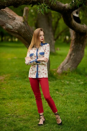 Ляпота. Блуза-рубашка комбинированая. Артикул: 1063