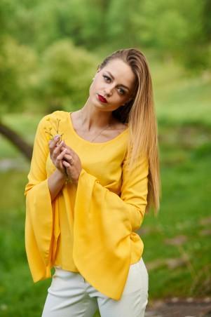 Ляпота. Блуза с расклешенными рукавами  желтая. Артикул: 1061