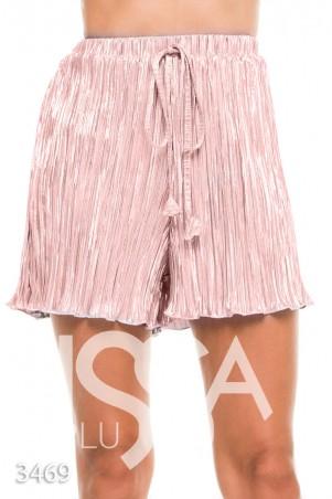 ISSA PLUS: Розовые шорты с высокой талией из жатого атласа 3469_розовый - главное фото