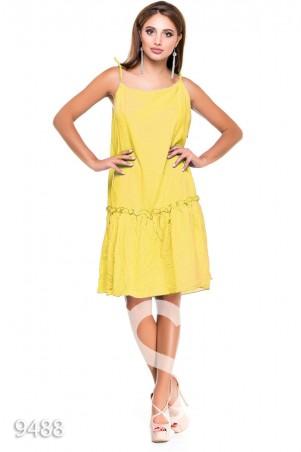 ISSA PLUS: Желтый свободный сарафан на тонких бретельках в белый мелкий горошек 9488_желтый - главное фото