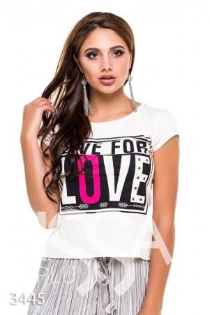 """ISSA PLUS: Белая футболка """"Живи для любви"""" с металлической фурнитурой 3445_белый - главное фото"""