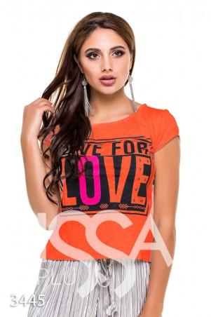 """ISSA PLUS: Оранжевая футболка """"Живи для любви"""" с металлической фурнитурой 3445_оранжевый - главное фото"""