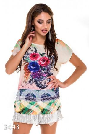 ISSA PLUS: Комбинированная футболка с крупным ярким цветочным принтом и бежевой спинкой 3443_бежевый - главное фото