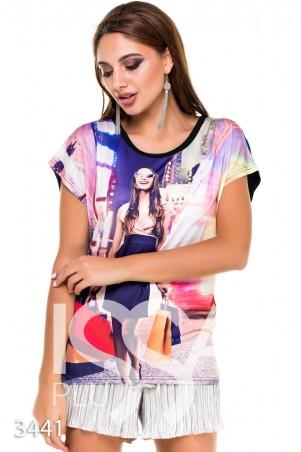 ISSA PLUS: Комбинированная футболка с full print и однотонной черной спинкой 3441_черный - главное фото