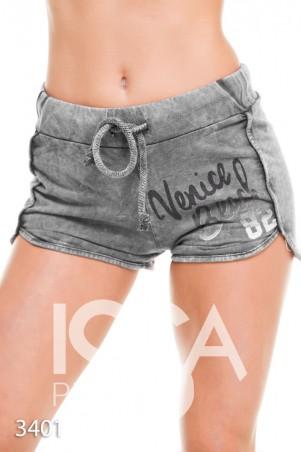 """ISSA PLUS: Серые плотные трикотажные шорты с """"линялым"""" принтом 3401_серый - главное фото"""