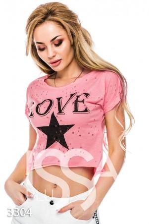ISSA PLUS: Розовый кроп-топ в дырочку с принтом звезды и надписью 3304_розовый - главное фото