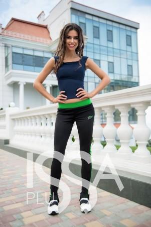 ISSA PLUS. Черные спортивные штаны с салатовыми лампасами. Артикул: 500_черный/салатовый