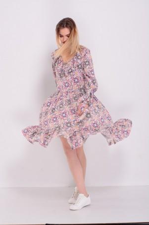 Lilo: Платье короткое с рюшами цветочный принт 8213 - главное фото