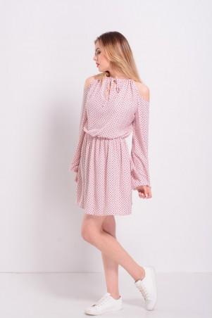 Lilo: Короткое розовое платье в горошек с открытыми плечами 8206 - главное фото