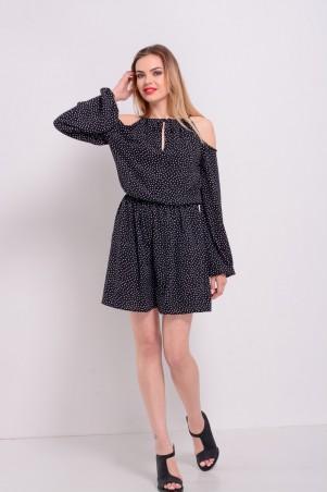 Lilo: Короткое черное платье в горошек с открытыми плечами 8201 - главное фото