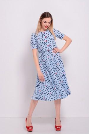 Lilo: Голубое платье в горошек длины миди 8208 - главное фото