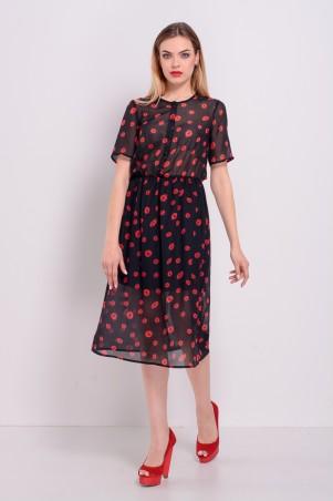 """Lilo: Черное шифоновое платье миди принт """"Красные губы"""" 8199 - главное фото"""