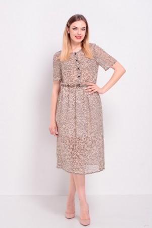 Lilo: Бежевое шифоновое платье в горошек миди 8200 - главное фото